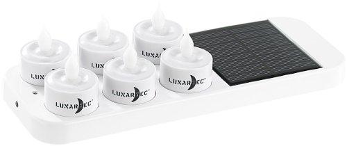 Lunartec Mini-LED-Kerzen 6 LED-Akku-Teelichte mit Dekogläsern Solar-Ladestation Solarteelichter