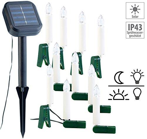 Lunartec Solar Weihnachtsbaum Solar-Lichterkette für Außen mit 10 flackernden LED-Kerzen Weinachtsbeleuchtung
