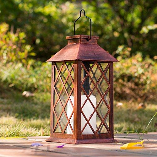 Solarlaterne für außen,TAKEMEURO Jahrgang Solarlampe mit Kerzen für Außen Gartendeko Solar Gartenlaterne