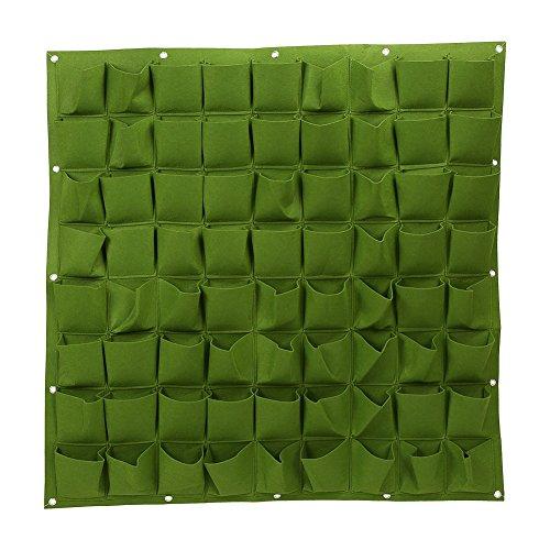 Delaman Pflanztaschen Pflanzsack Aufhängbare Pfanzbeutel Vertikale Pflanzgefäßen für Kräuter Blumen Haus Wand Balkon Garten Dekor 72 Taschen 100cm100cm Color  Green