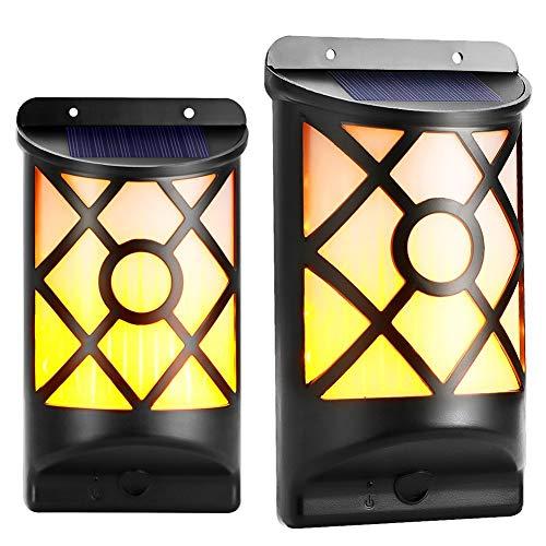 Koopower Solarleuchte Tanzen Flamme Beleuchtung 66 LED Flickering Solar Wandleuchte Waaserdicht IP65 Außenleuchte Solarlampe drahtlose Wandampe für Garten Wand im Freien Zaun Patio Yard