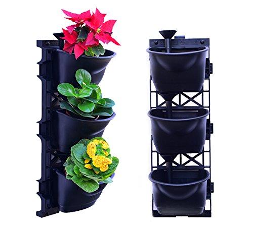 UPP Pflanztöpfe Blumentöpfe Wand-Garten mit patentiertem Bewässerungssystem - beliebig erweiterbar - NEUHEIT Für individuelle Bepflanzung  Ideal als Kräutergarten 2x3er Starter-Set