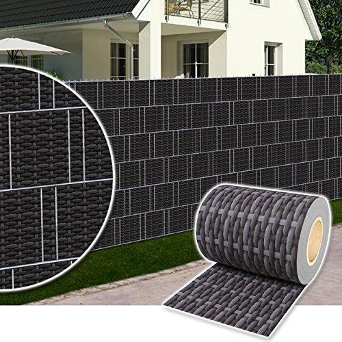 Plantiflex Sichtschutz Rolle 35m Blickdicht PVC Zaunfolie Windschutz für Doppelstabmatten Zaun Rattan-Anthrazit