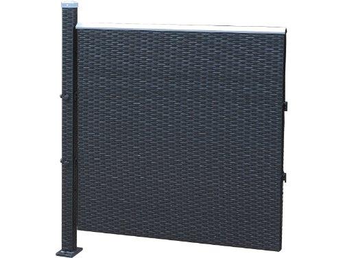 Poly-Rattan Sichtschutz  Zaun erweiterungselement 90cm schwarz von Prime Tech