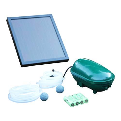 PK Green Solar Teichbelüfter mit Akku  Sauerstoffpumpe 14 W 200 LPH  Pumpe für Garten Teich Fisch  Luftsprudler Solarbelüfter mit 2 Steinen  Luftpumpe für Gartenteich
