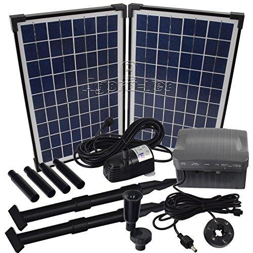Agora-Tec AT-20W-BL Beleuchtete Solar Teichpumpe 20 Watt mit Akku und 6 fach LED Ring Hmax 1350lh Fontainenhöhe 250m für Gartenteich oder Springbrunnen