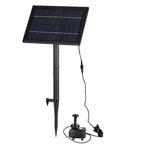 Anself 5V Solar Teichpumpe Springbrunnen Teichpumpe Solar-Brunnen Wasserpumpe mit LED Lampe