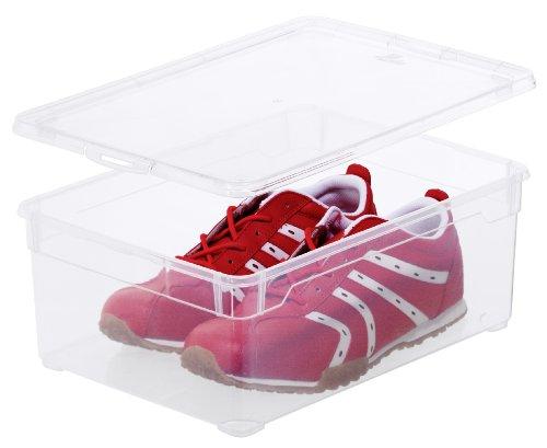 Aufbewahrungsbox Clear Box Man Shoe 10 L von Sundis mit Deckel - QR-Code AppMyBox - 10 L Volumen - LxBxH 365x265x14 cm - transparent - stapelbar - KunststoffPlastik PP - Div Größen