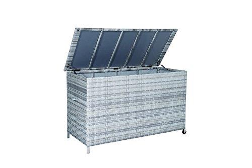 Garden Impressions KissenboxLUCCA zur Aufbewahrung von Polstern und Kissen - hochwertiges Kunststoff Geflecht cloudy grau 169x16x102 cm 05638SO