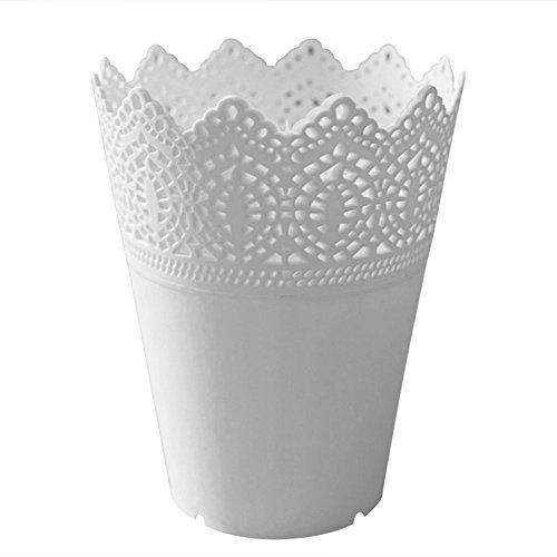 Gespout Blumentöpfe Vase Plastik Blumenvase Pflanzen Set Wohnzimmer Dekoration Kunststoff Blumenvase Aufbewahrungs Korb Stifthalter Make up Pinsel Organizer Blumentopf Container Home Dekoration(weiß)