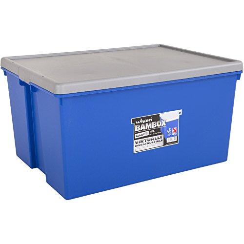 Bambox 150 Liter 80x60x42 cm Blau Schwerlastbox mit Deckel strapazierfähig und belastbar • 150L Schwerlast Transport Aufbewahrungsbox Stapelbox Kunststoff Plastik