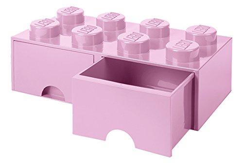 LEGO 4006 Brick 8 Knöpfe 2 Schubladen stapelbar Aufbewahrungsbox 94 l Light Pink Plastik Legion Purple 50 x 25 x 18 cm