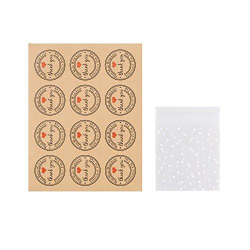 WOLFTEETH Geschenktüten für-Box-Backen Plastik 100 pcs Mini Bags and 100 pcs Stickers