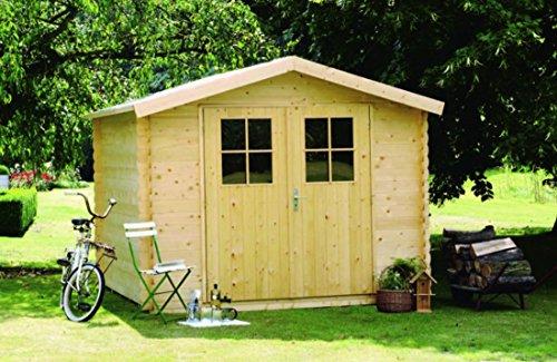 Alpholz Gerätehaus MONS aus Fichten-Holz  Gartenhaus inkl Dachpappe  Geräteschuppen mit Satteldach 300 x 330cm
