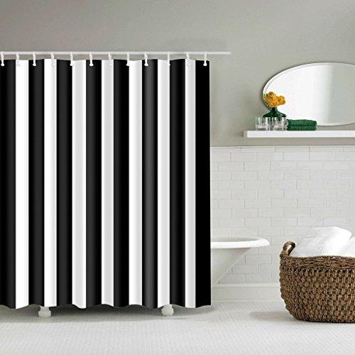 TXXM Duschvorhänge Schwarz-Weiß-Vertikale Streifen Muster Wasserdicht Schnell zu Trocken Umweltschutz Materialien Metall Haken Hängeloch Duschvorhänge  größe  180200cm