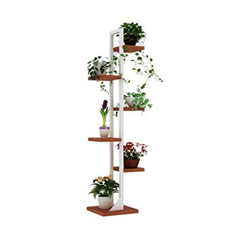 6-Tier Eisen BlumenständerBlumen Racks für Wohnzimmer Balkon und IndoorOutdoor Metall Regal stehend Bonsai Display Stand Blumentopf Eckregal - Weiß Rahmen und Teak Color Board Farbe B