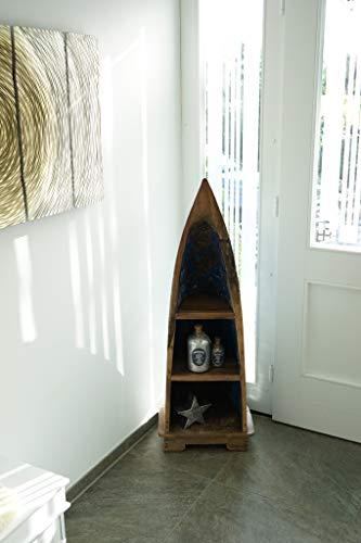 Ploß 1000415 Boot als Regal Unikat recyceltes Teak Fischerboote BTH 30 x 40 x 120 cm