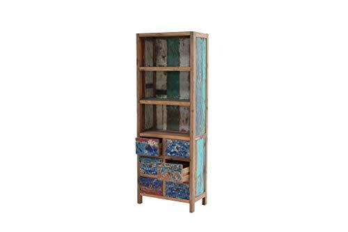 Ploß 1060015 Bücherregal Unikat Teak recycelt Schiffsfarbe Unikat 6 Schubladen 2 Zwischenböden BTH 75 x 40 x 205 cm