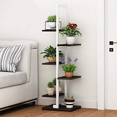 YINUO Wohnzimmer Stahl Holz Blume Stand schmale Schmiedeeisen Mehrschichtige multifunktionale Multi Fleisch grün Rettich Regal Schlafzimmer dekorative Rahmen Landung Color  Teak Color