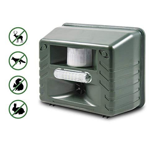 ASPECTEK Ultraschall Tiervertreiber - mit Stoboskopblitz und Raubiergeräusch-Funktion - wetterfest- vertreibt wirksam Ratten Füchse und andere Wildtiere Grün