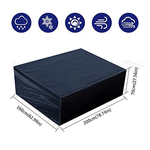 Fittolly Abdeckung für Gartenmöbel Wasserdicht Rechteckig Schutzhülle Gartenmöbel 200x160x70cm Schwarz