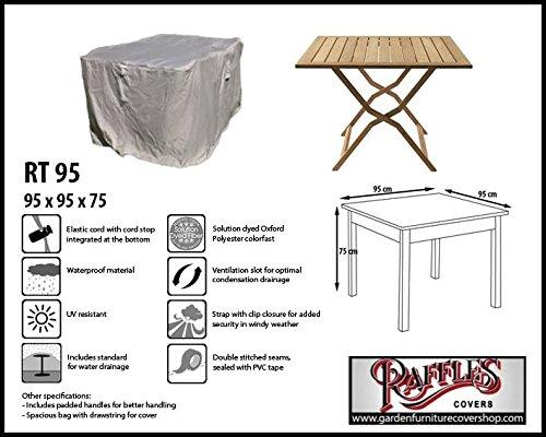 Raffles Covers RT95 Schutzhülle für quadratischen Tisch 95 x 95 cm Schutzhülle für rechteckigen Gartentisch Abdeckhaube für Gartentisch Gartenmöbel Abdeckung