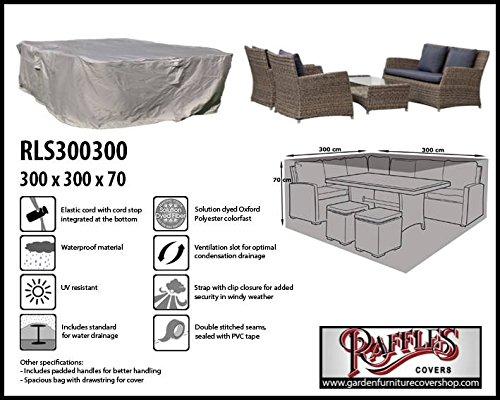 Raffles Covers Wetterschutz für Lounge-Möbelset 300 x 300 Gartenmöbel Lounge Möbel Set Schutzhülle Hülle Haube Plane Abdeckung Abdeckplane für Lounge Set