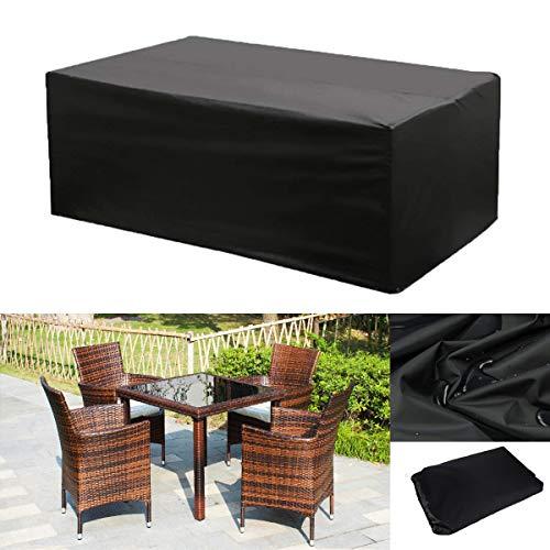 OOFIT Gartenmöbel Schutzhülle Abdeckplane für rechteckige Tisch Sitzgruppe Wasserdicht UV-Schutz Kälteresistent Wind- und Wetterfest 242×162×100CM
