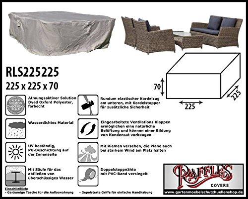 Raffles Covers RLS225225 Schutzhaube für Garten-Lounge Garnitur 225 x 225 cm Gartenmöbel Lounge Möbel Set Schutzhülle Hülle Haube Plane Abdeckung Abdeckplane für Lounge Set
