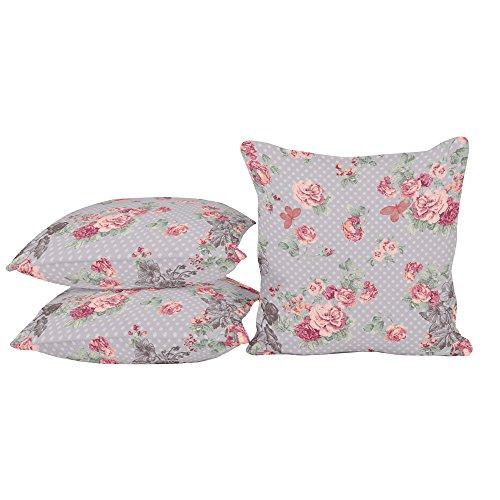 habeig Sitzkissen Kissen Outdoor Wetterfest 50x50 cm Zierkissen Gartenstuhl Auflagen Rosen 486