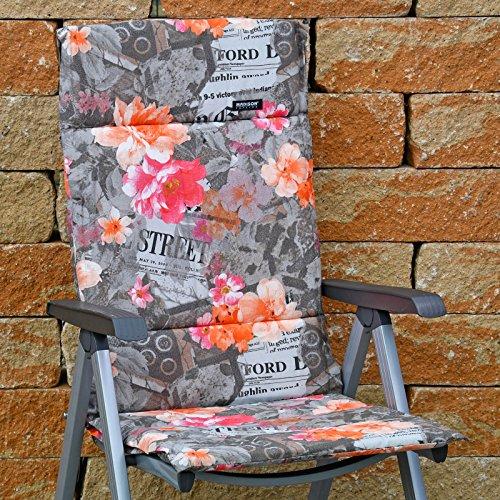 6 Hochlehner Auflagen 123 x 50 x 3 cm Madison Fiber de luxe Newspaper Taupe Gartenpolster ohne Sessel