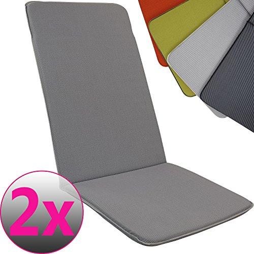 PROHEIM Hochlehner-Auflage Pisa 2er Set 113 x 47 cm Polsterauflage für Gartenstühle Stuhlkissen mit bequemer Schaumfüllung Gartenpolster in Verschiedenen Farben FarbeGrau