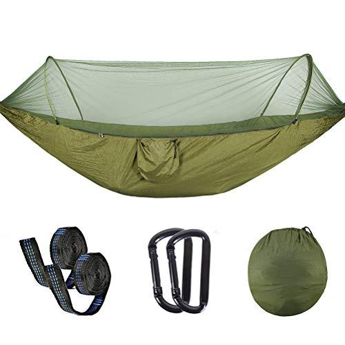 AMZQJD Ultraleichte Moskito Netz Camping Hängematte Outdoor  300kg Tragfähigkeit250 x 120 cm290  145cm Schnell öffnen Fallschirm Nylon für Outdoor Camping und Indoor Garten250  120cm Grün