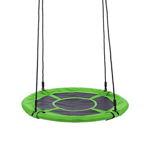 Profun Nestschaukel Tellerschaukel Durchmesser von 100cm Wiegung 150KG Garten-Schaukel Outdoor Kinderspielzeug für Kinder geschlossene Sitzfläche Hängesessel grün