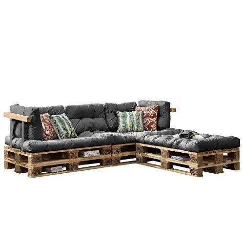 encasa Euro Paletten-Sofa - DIY Möbel - Indoor Sofa mit Paletten-Kissen  Ideal für Wohnzimmer - Wintergarten 3 x Sitzauflage und 5 x Rückenkissen Grau