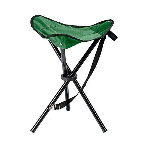 Falt-Hocker Hocker Klapphocker Dreibeingestell Belastbar bis 80 kg inklusive Trageriemen Metall Polyester 32 x 32 x 46 cm schwarz grün