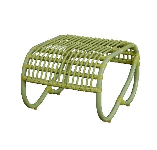 Moderner OUTDOOR Fusshocker Holiday im Retro-Design  Garten-Hocker aus stabilem Aluminium in Trendfarbe Grün