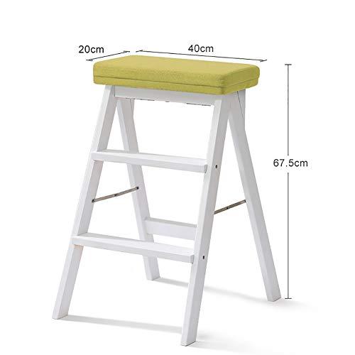 MEI XU Weiß Massivholz Trittleiter Leiter für Erwachsene Holz Küche Trittleiter Tragbare Falten Fußbank Multifunktions kleine Hocker Bank  Farbe  3