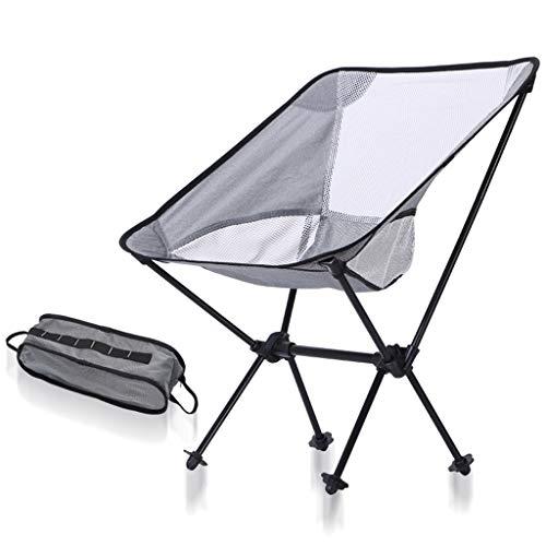 RFJJAL Outdoor Klappstuhl Ultraleichte Tragbare Luftfahrt Aluminiumlegierung Mond Stuhl multifunktions Angeln Hocker Freizeit Schreiben Stuhl Bank Farbe  Weiß