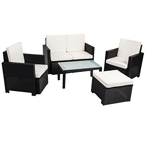 ArtLife Polyrattan SitzgruppeLounge Samos Schwarz für 4 Personen - 5-Teiliges Gartenmöbel-Set inkl 2er-Sofa Sesseln Hocker Tisch