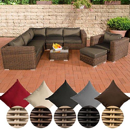 CLP Polyrattan Gartenlounge ARIANO inkl Polsterauflagen  Garten-Set ein Ecksofa ein Sessel ein Hocker und ein Loungetisch  In verschiedenen Farben erhältlich Rattan Farbe braun-meliert Bezugfarbe Anthrazit