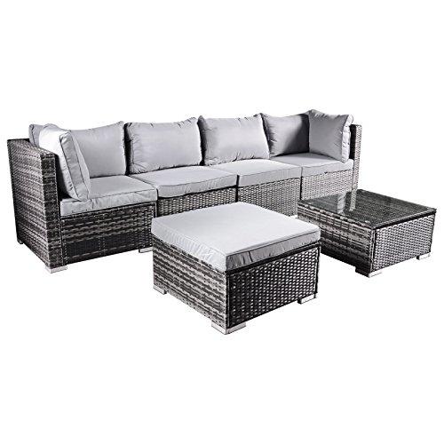 Hansson Polyrattan Gartenmöbel Lounge Set Sitzgruppe Garnitur Poly Rattan inkl Sofa Sessel Kissen Hocker Tisch mit Glas 2 x Ecksofa 2 x Mittelsofa 1 x Tisch Hocker