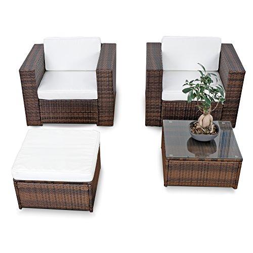XINRO erweiterbares 10tlg Balkon Gartenmöbel Set Polyrattan - braun-Mix - Garnitur Gartenmöbel Sitzgruppe Loungemöbel Set - inkl Lounge Sessel  Hocker  Tisch  Kissen