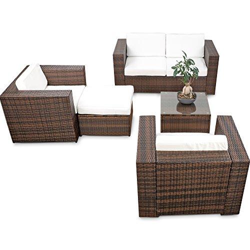 XINRO erweiterbares 15tlg XXXL Polyrattan Lounge Sofa Set kaufen - braun-Mix - Sitzgruppe Garnitur Gartenmöbel Lounge Möbel Set - inkl Lounge Sofa  Sessel  Hocker  Tisch  Kissen