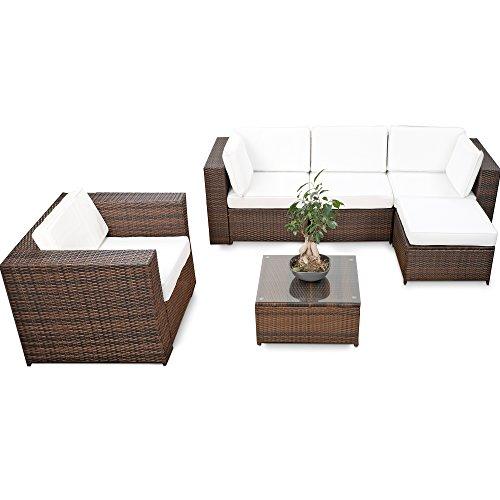 XINRO erweiterbares 18tlg Eck Lounge Set Polyrattan - braun-Mix - Garnitur Gartenmöbel Sitzgruppe XXXL Lounge Gruppe - inkl Lounge Sessel  Ecke  Hocker  Tisch  Kissen