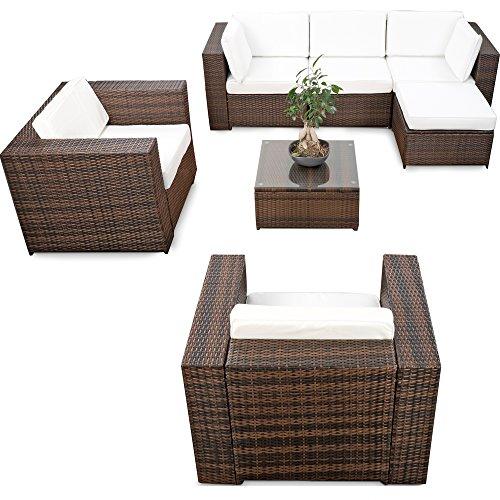XINRO erweiterbares 21tlg Lounge Möbel Polyrattan Set XXL - braun-Mix - Sitzgruppe Garnitur Gartenmöbel Lounge Eck Set - inkl Lounge Sessel  Ecke  Hocker  Tisch  Kissen