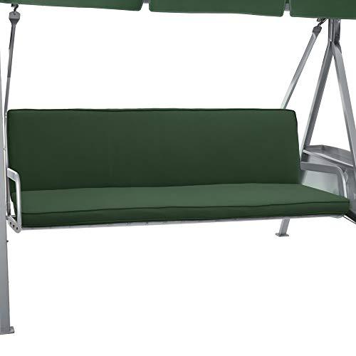 Beautissu Hollywoodschaukel Auflage Loft HS 180x50cm Auflagen für 3-Sitzer Hollywoodschaukel mit Rücken-Kissen Dunkelgrün in verschiedenen Farben erhältlich