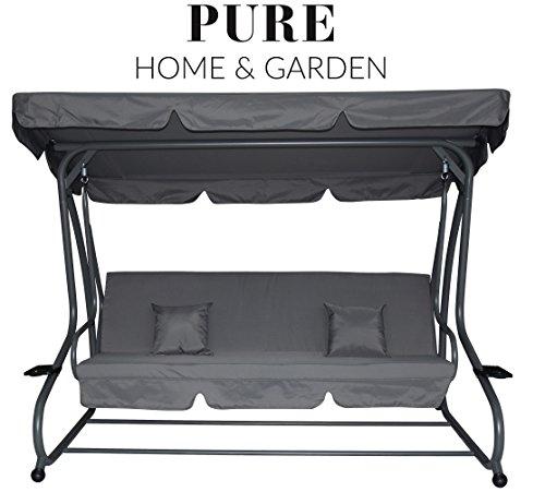 Pure Home Garden 4-Sitzer XXL Hollywoodschaukel mit Liegefunktion Askim Anthrazit einfach klappbar 232 cm