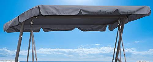 Quick-Star Ersatzdach Gartenschaukel Universal Hollywoodschaukel 3 Sitzer Grau Ersatz Bezug Sonnendach Schaukel Dach
