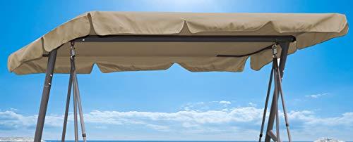 Quick-Star Ersatzdach Gartenschaukel Universal Hollywoodschaukel 3 Sitzer Sand Ersatz Bezug Sonnendach Schaukel Dach